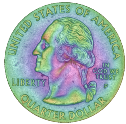 3D Scan of a Quarter with Pseudo Color