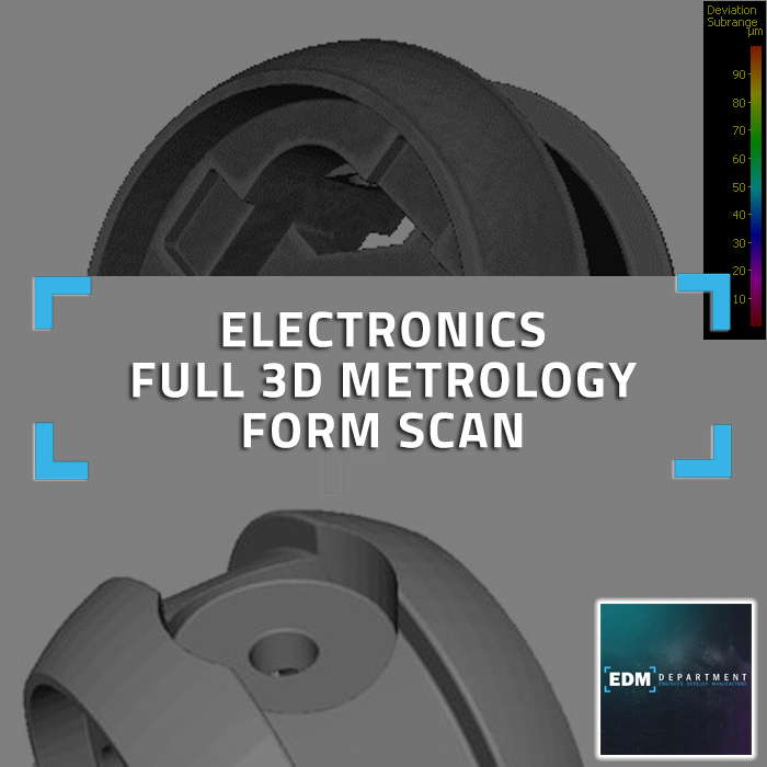Electronics - Full 3D form scan, difference measurement, STL output of molded component